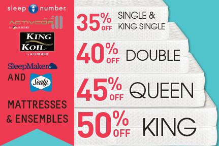 '50% off Big Brand Mattresses & Ensembles