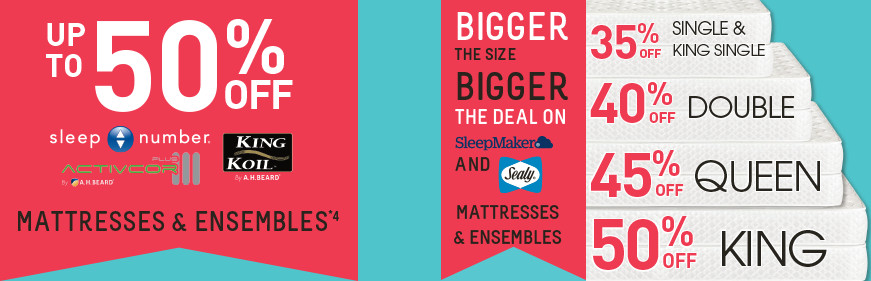 '50% off Big Brand Mattresses & Ensembles