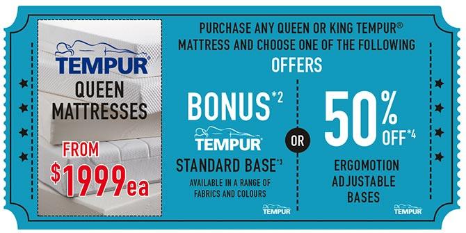 Tempur Queen Mattresses from $1999ea