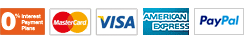PayPal and Credit cards: Interest Free, Visa, MasterCard, American Express