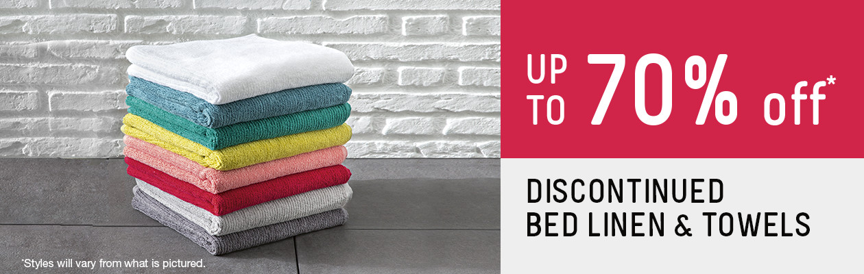 Up to 70% off Bed linen & Towels.