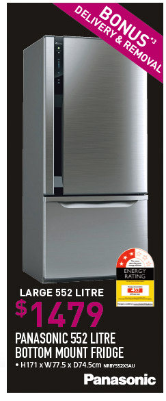PANASONIC 552 LITRE BOTTOM MOUNT FRIDGE