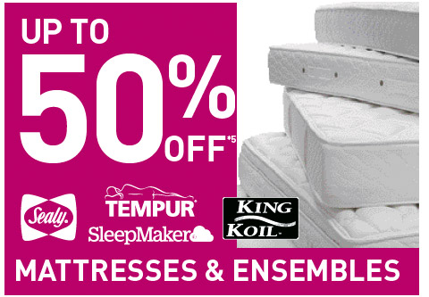Up to 50% Off Mattresses & Ensembles