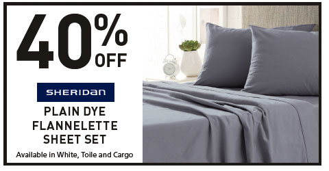 40% Off sheridan plain dye flannelette sheet set