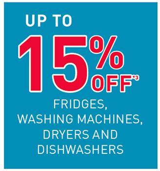 up to 15% off Fridges...