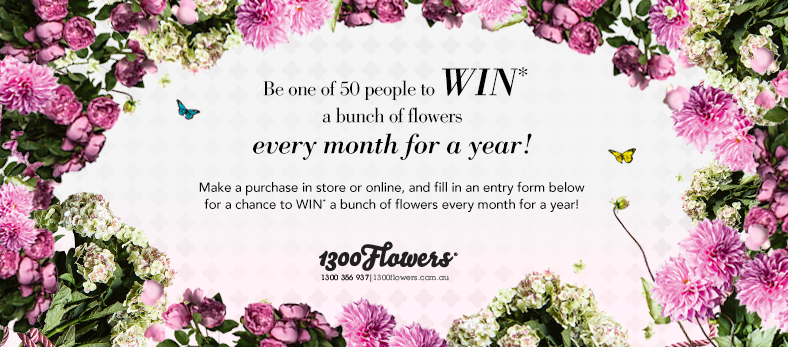 Be one of 50 people to win a bunch of flowers every month for a year.