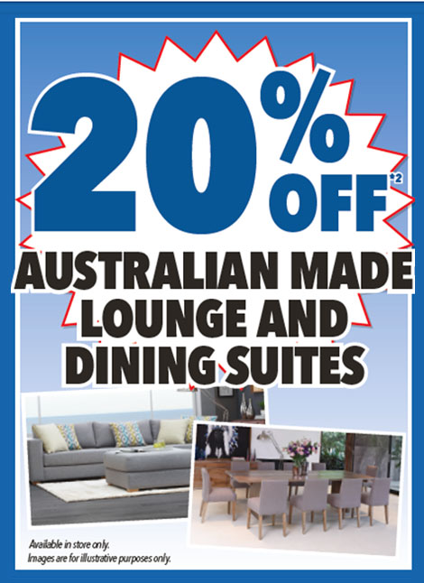 20% Australian Made Lounge and Dining Suites